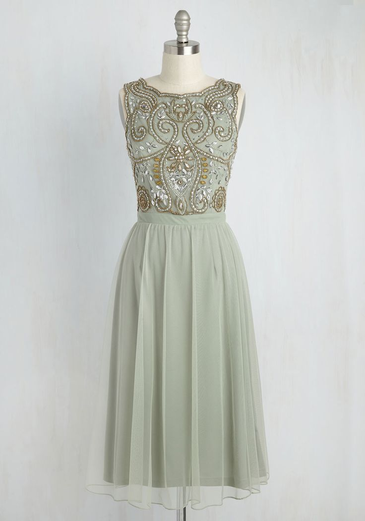 Have a Sway In the Matter Dress. Styled in this sage green midi dress, you have major pull on the evenings plans! #green #prom #modcloth