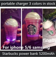 Online Shop New Arrival newest 3 colors Starbucks power bank 5200mAh portable charger For iphone 5 6 plus External backup battery|Aliexpress Mobile