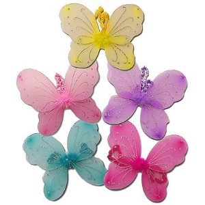 5 Toddlers and Kids Fairy & Butterfly Costume Wings Assorted Colors Party Package