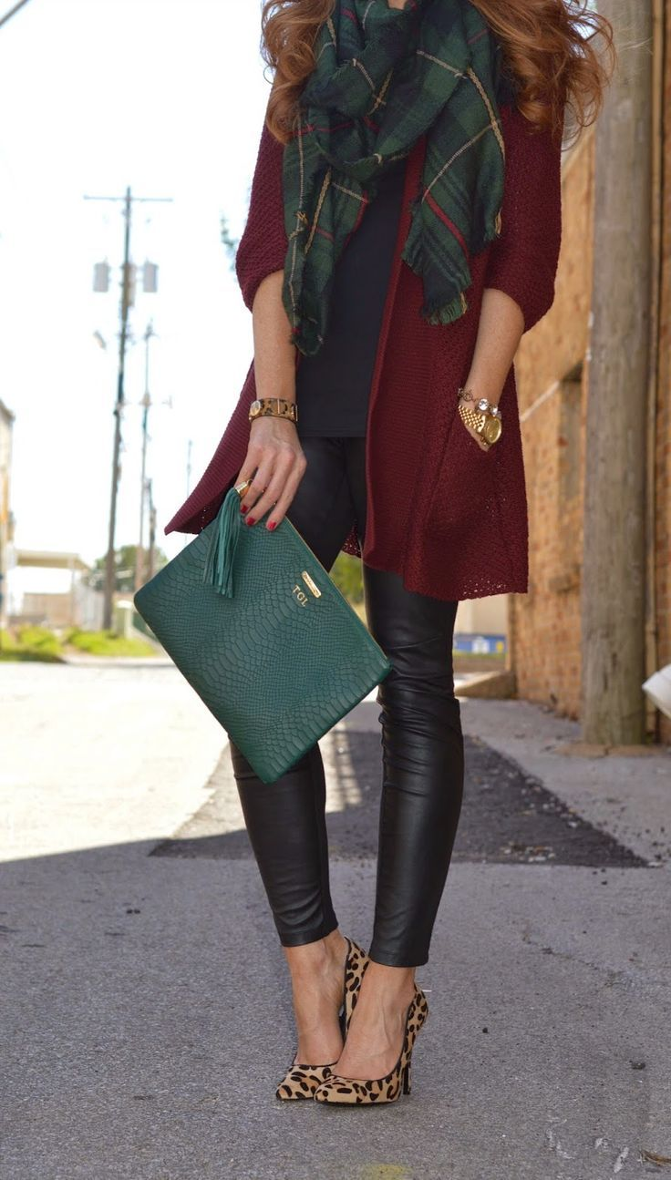 Shop this look on Lookastic:  http://lookastic.com/women/looks/scarf-open-cardigan-crew-neck-t-shirt-watch-clutch-leggings-pumps/8277  — Dark Green Plaid Scarf  — Burgundy Open Cardigan  — Navy Crew-neck T-shirt  — Gold Watch  — Dark Green Leather Clutch  — Black Leather Leggings  — Tan Leopard Suede Pumps