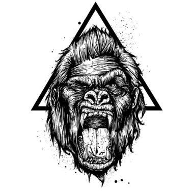 Gorilla and Triangle Tattoo Design