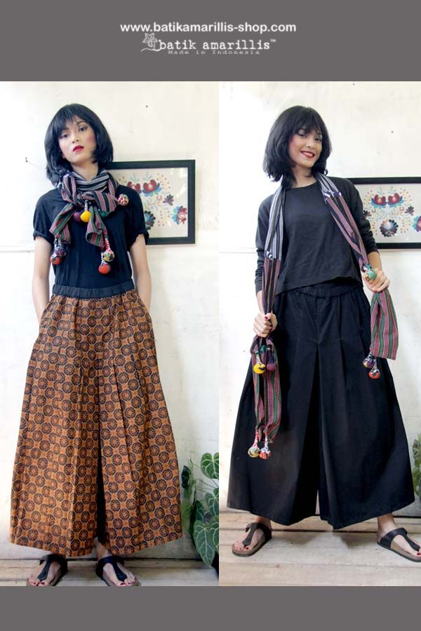 Introducing Batik Amarillis 's The Warrior pants #2 in Batik Randu kintir -Sragen When you can't decide to wear pants or skirt!this comfy wide pants with around the clock skirt is smartly designed, with pleats at the crotch