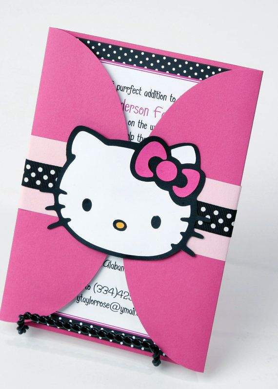 Hello Kitty Invitation Birthday by ImpressPapers on Etsy, $89.00 @Daniela Yanez