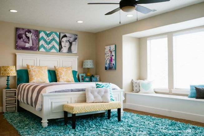 Teal Aqua Mustard Grey Master Bedroom So Cute And I Love The Canvas Idea She Did More Images On Designlovesdetail Ooh La