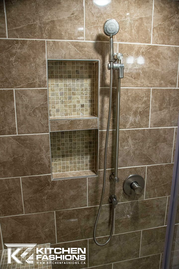 inset tile shower shelf, and adjustable shower head wand   Beautiful ...