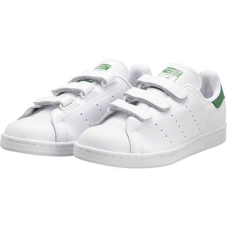Stan Smith en cuir avec scratchs blanc Adidas