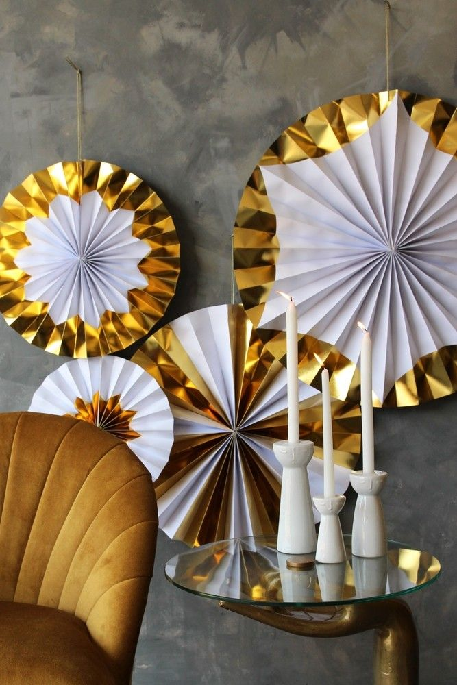 Set Of 4 Foil Giant Pinwheel Decorations - Gold - View All Christmas - Christmas