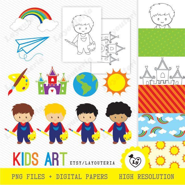 Art Clipart | Kids Art Clip Art | Art Printable | Art Image |  INSTANT Download by Layouteria on Etsy https://www.etsy.com/uk/listing/289028035/art-clipart-kids-art-clip-art-art