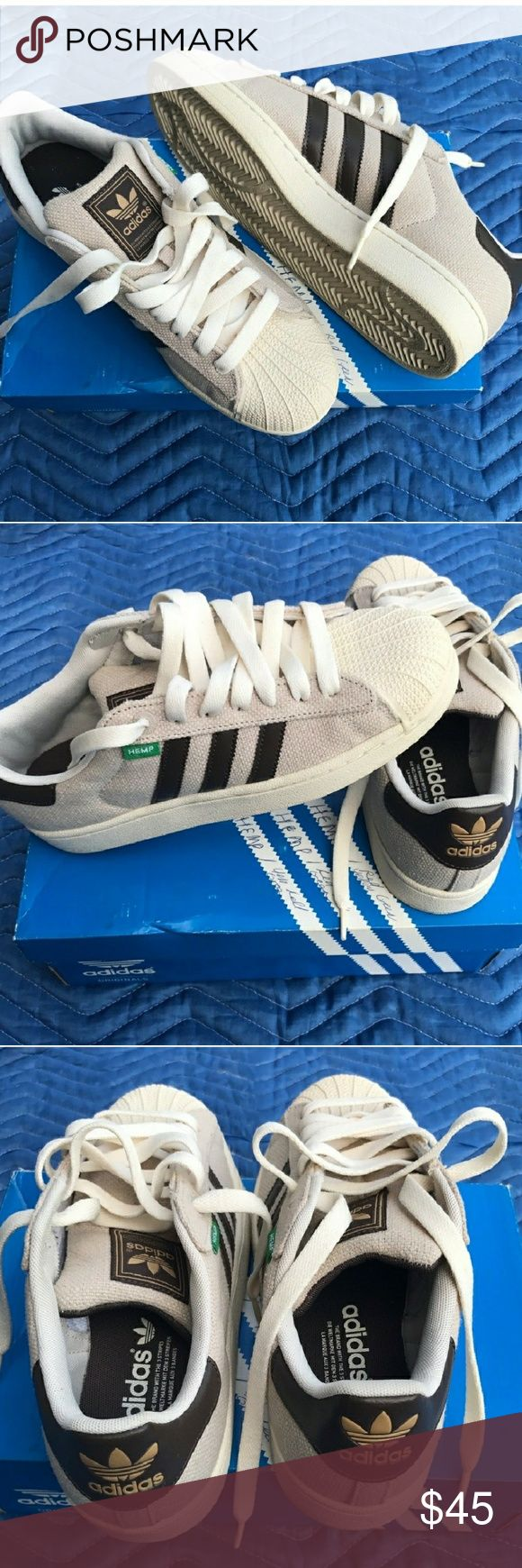 Adidas Superstar Hemp Gently worn. Size 8 men. Colors are a very dark brown and a very light beige. adidas  Shoes