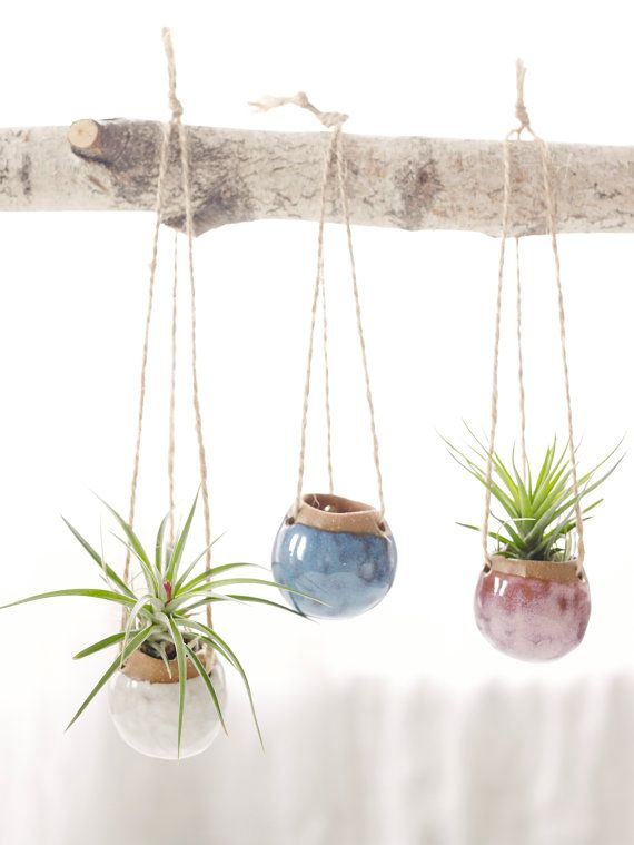 Set of Three Small Hanging Planters MADE TO ORDER.  Planters for Airplants in Oasis, Fire Opal, and White