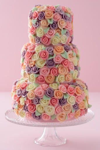 pretty:): Rose Wedding Cake, Bridal Shower Cake, Cake Wedding, Pretty Cake, Colors Rose, Tiered Cake, Pastel Colors, Rose Cake, Flower Cake
