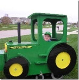 John Deer Farmer's Tractor Halloween Costume for kids in wheel chairs. One of 12 great DIY costumes you can make at home.