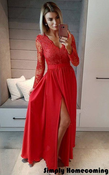 688a61d202 Red A Line V Neck Chiffon Chiffon Tulle Floor Length Long Sleeves Appliques  Lace Split Front