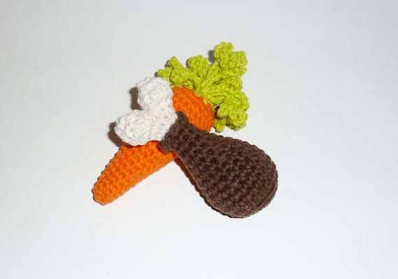 Small Squeaker Carrot Tiny Dog Toy Squeaker Dog by CherryWillow