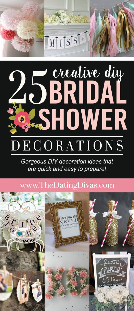 Love!!! Top 25 DIY Bridal Shower Decorations! I like how these are GORGEOUS decorations, but quick and easy to prepare! - www.TheDatingDivas.com