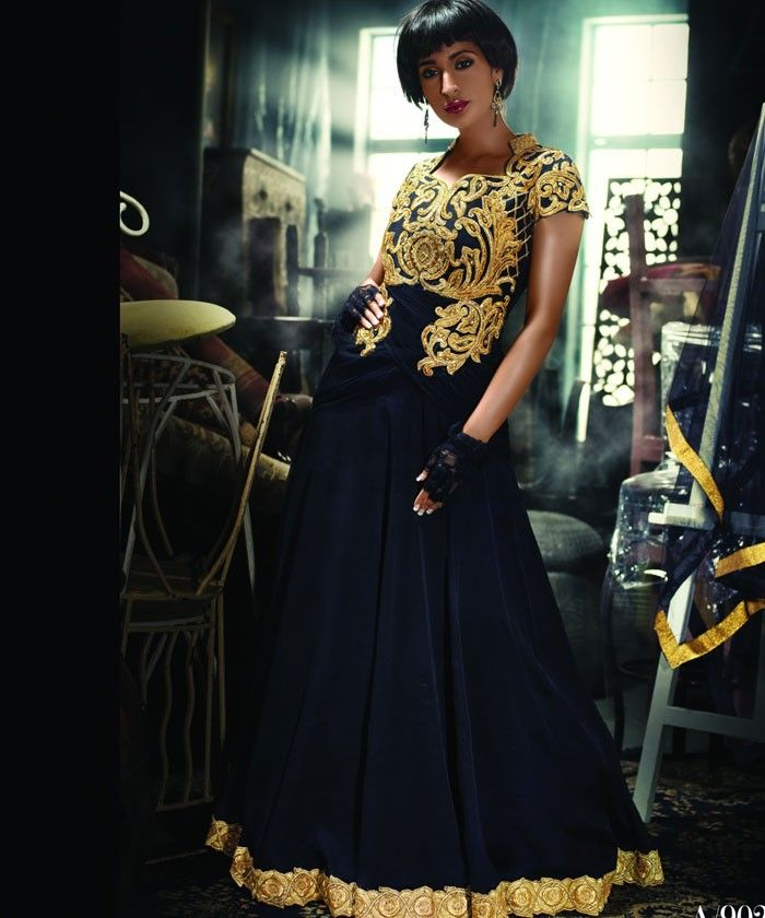 Gorgeous Black Designer Suit with Velvet