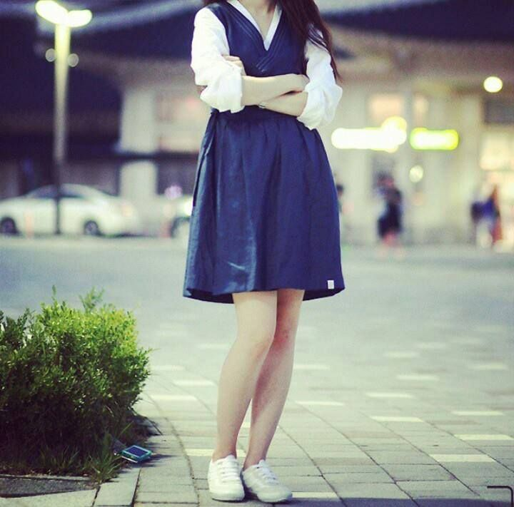 Hanbok, Casual,  Korean Traditional Dress made into modern style outfit