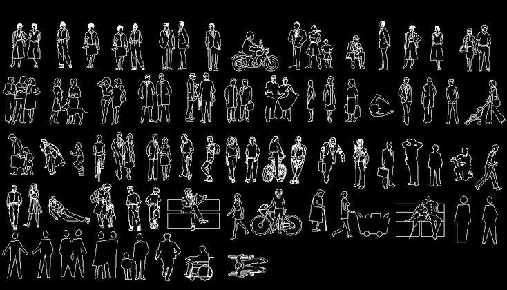 Bloques AutoCAD de siluetas y contornos de personas