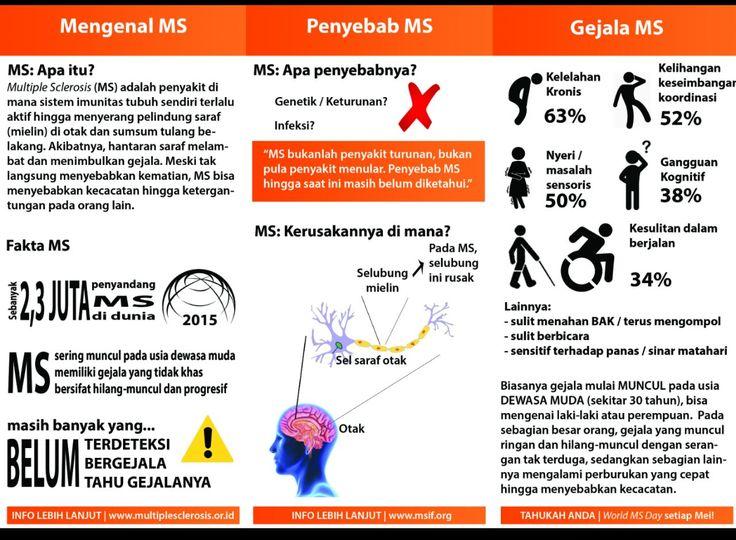 #MultipleSclerosis (#MS) adalah penyakit autoimun yang menyerang sistem saraf pusat, terutama otak, saraf tulang belakang, dan saraf mata. Ini adalah penyakit jangka panjang yang memiliki ciri gangguan keseimbangan, penglihatan, kendali dan penyesuaian otot. Multiple Sclerosis diderita oleh 2,5 juta orang di seluruh dunia dan lebih sering menyerang wanita daripada pria. Pada kasus berat, penyakit ini dapat menyebabkan cacat.