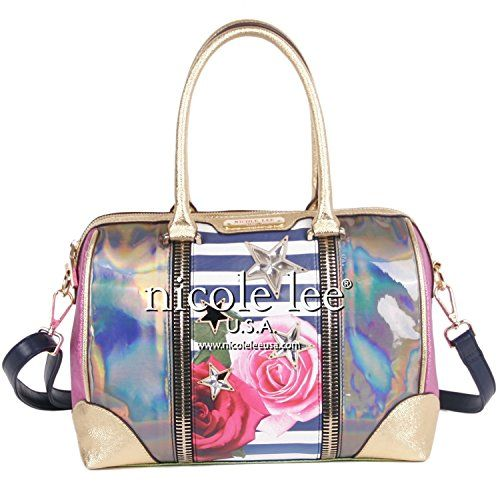 Nicole Lee ASHTON ROSE STRIPE PRINT BOSTON BAG:   brLook effortlessly cool and sophisticated with the Nicole Lee Ashton Rose Stripe Print Boston Bag. brExterior features: made of metallic faux leather, hologram design at front and back, Nicole Lee Rose Striped print at front and back, zipper detail at front, rhinestone star detail, gold-tone hardware, faux leather handles, metal zipper closure with NL logo monogrammed zipper pull and Nicole Lee signature nameplate. brInterior features:...