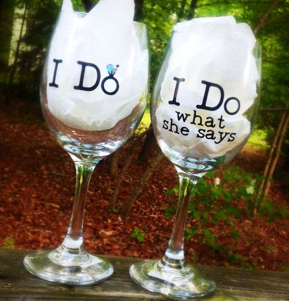 Wedding Wine Glasses, bride and groom, personalized. Cute