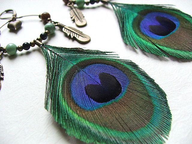 łapacz snów boho hippie pawie pióra turkusy piasek - nailart2010 - Kolczyki wiszące