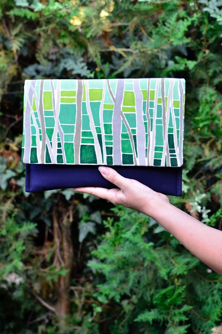 Hand painted clutch purse, Handmade spring bag, Forest print purse, Green navy blue clutch, Statement bag, 5th anniversary gift for her