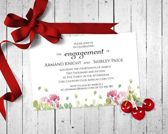 Wedding Printable Engagement Invitation Card Red by MaryAnnColors