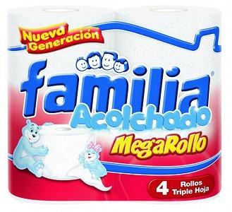 Papel higiénico Familia acolchado Mega rollo, triple hoja x 4 Und