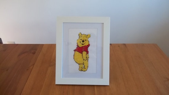FINISHED FRAMED EMBROIDERY   cross stitch  winnie the by ILAJLA, $165.00