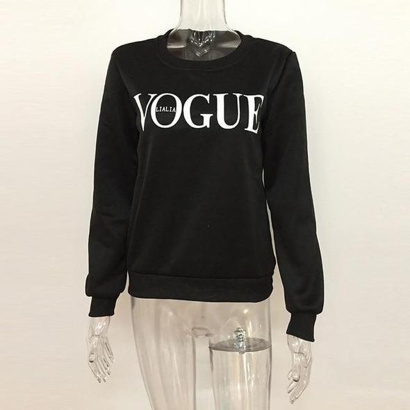VOGUE Letter Print Women Hoodies Sweatshirts O-Neck Korean Casual Autu – uotel... 9