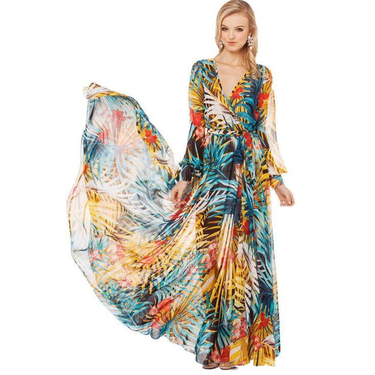 Szyfonowa sukienka w tropikalne kwiaty● Bezpieczny Import z Chin ● 36.pl