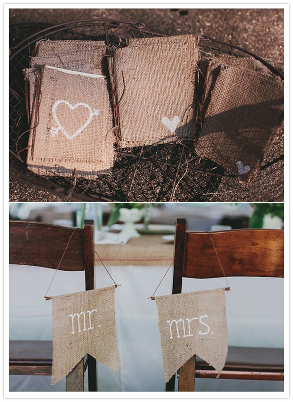 burlap wedding programs + Mr. & Mrs. signs