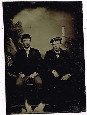 Two Seated Men Light House Background 1880's Tintype