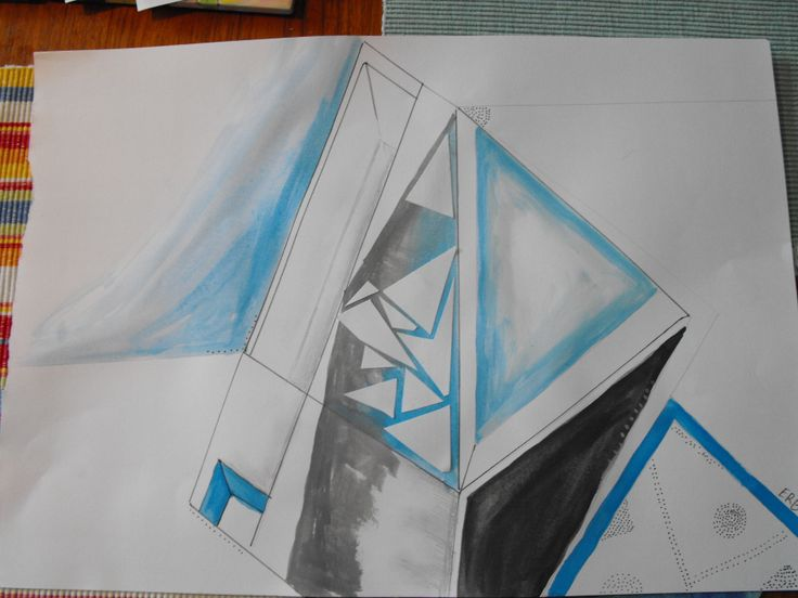 architecture inspired geometric, water colours