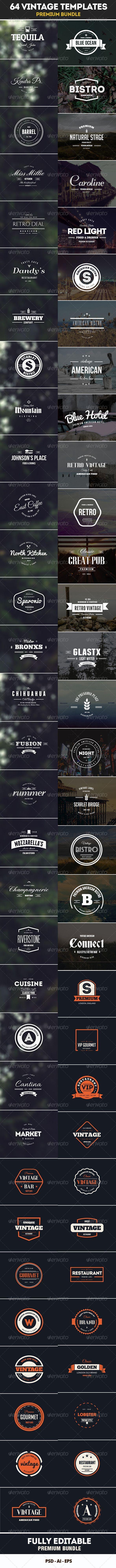 64 Vintage Labels & Badges Logos Bundle Template   Buy and Download: http://graphicriver.net/item/64-vintage-labels-badges-logos-bundle/7993973?WT.ac=category_thumb&WT.z_author=designdistrictmx&ref=ksioks: