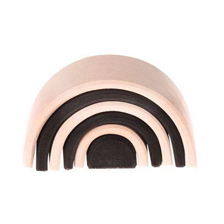 Zwart witte regenboog bestaande uit 6 houten bogen in vrolijke kleuren. Lengte 10,5 cm. De bogen kunnen gebruikt worden als bruggen, tunnels, hekken en huisjes. Geschikt voor kinderen vanaf 3 jaar. Regenboog, zwart-wit, monochroom, Grimm's 93060