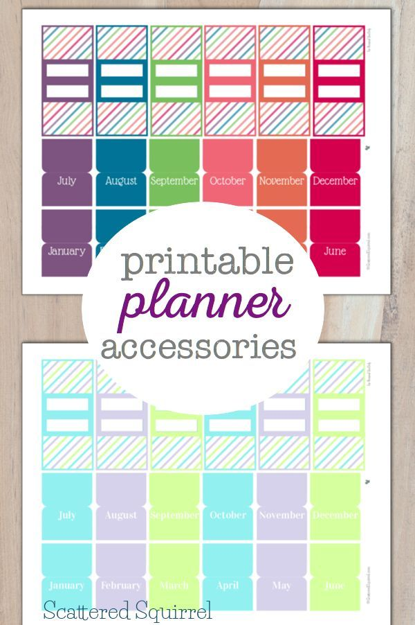 Pretty Printable Planner Accessories to help you organize your planner a little more. Included are the 2015 and 2016 colour schemes with monthly tabs and bookmarks ready to go. #TriplePFeature