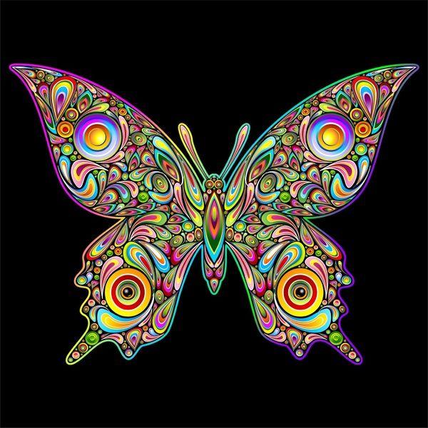 Butterfly Psychedelic Art Design Art Print by Bluedarkat Lem   Society6