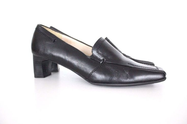 Black 100% Real Leather OSCANIA Slim Heel Court Ladies Shoes Size UK 6 EU 39