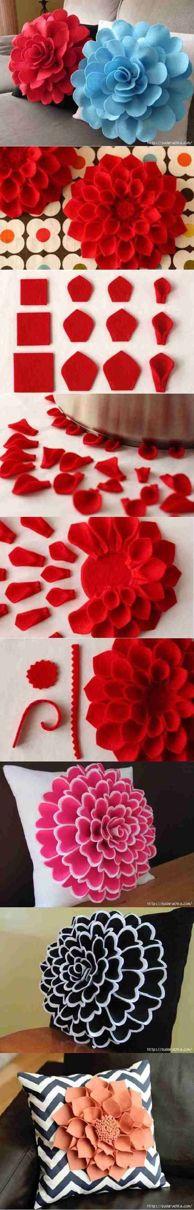 DIY Decorative Felt Flower Pillow | 17 Adorable DIY Pillow Ideas