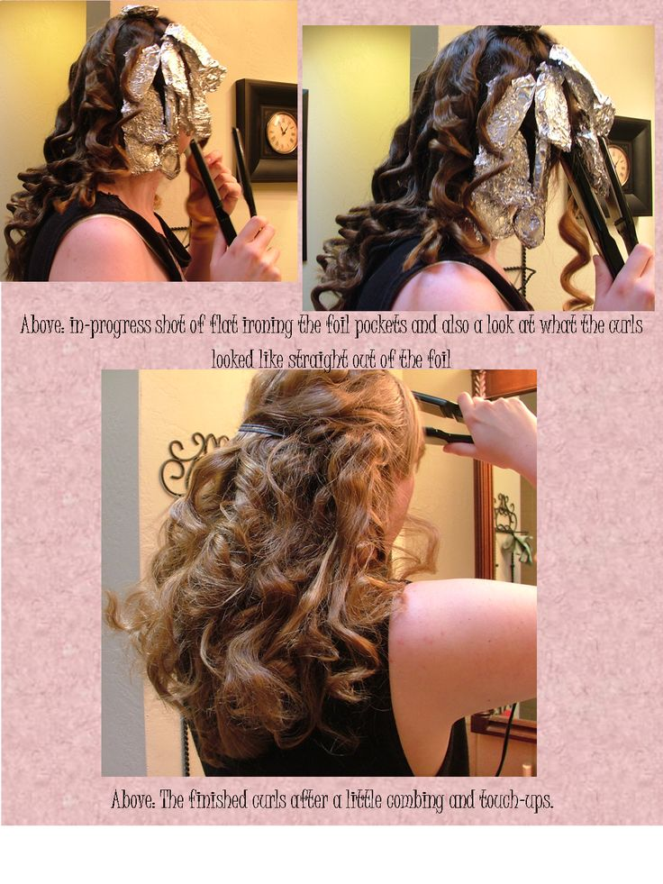 My tinfoil curls results.  It turned out great and didn't take long at all (about 30 minutes for my very thick hair) and my hair usually never curls with irons but this worked great and lasted all night (with light hairspray).  My only tip: don't twist the strand when you wrap it around your fingers, it gets tangled and the curls get less manageable. Link takes you to the tutorial I used