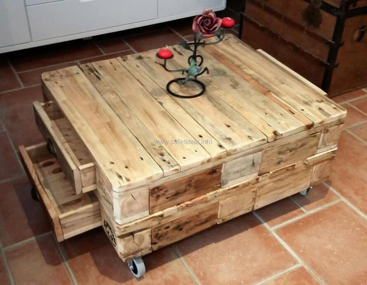 There are drawers on 2 sides of the recycled wood pallets coffee table, the number of drawers is 4; which is enough to place the items used in a single room. You can see the drawers are open here and they are neat from inside.