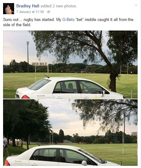 "Bradley caught a bit of some local rugby in his ""bet"" mobile..."