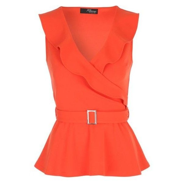 Orange Belted Peplum Wrap Top ❤ liked on Polyvore featuring tops, red wrap top, red peplum top, wrap tops, red top and peplum tops