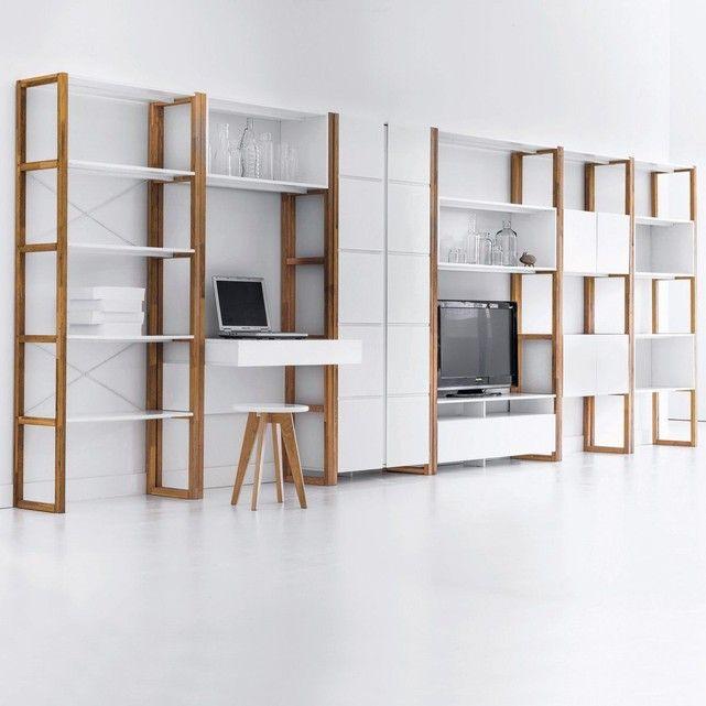 Armoire Bibliotheque De Rangement Compo Blanc La Redoute Interieurs La Redoute Mobile Rangement Sejour Decoration Maison Armoire Rangement