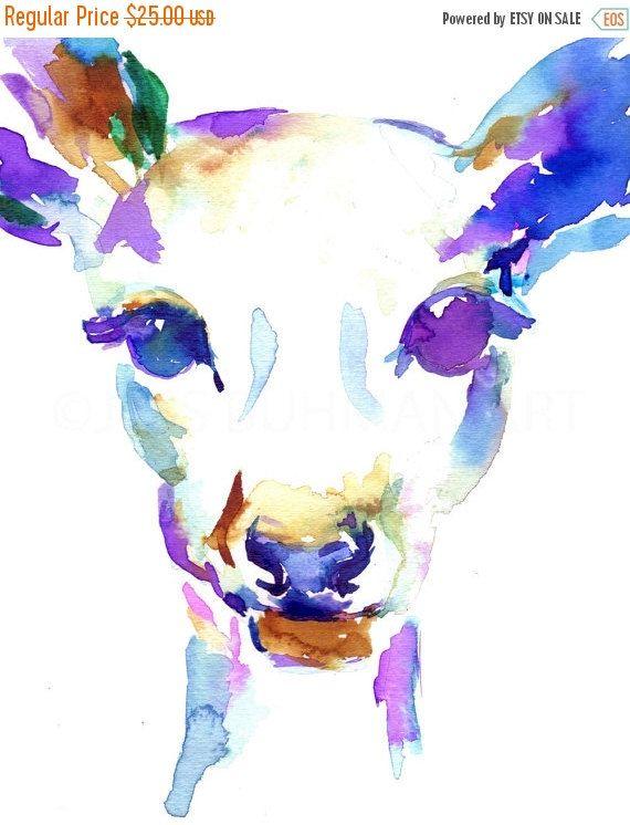 EXTREME SALE Deer Watercolor Painting Print, Print of Doe, Doe Watercolor, Deer Painting, Deer Watercolor, Print of Deer, Nursery Art, Anima