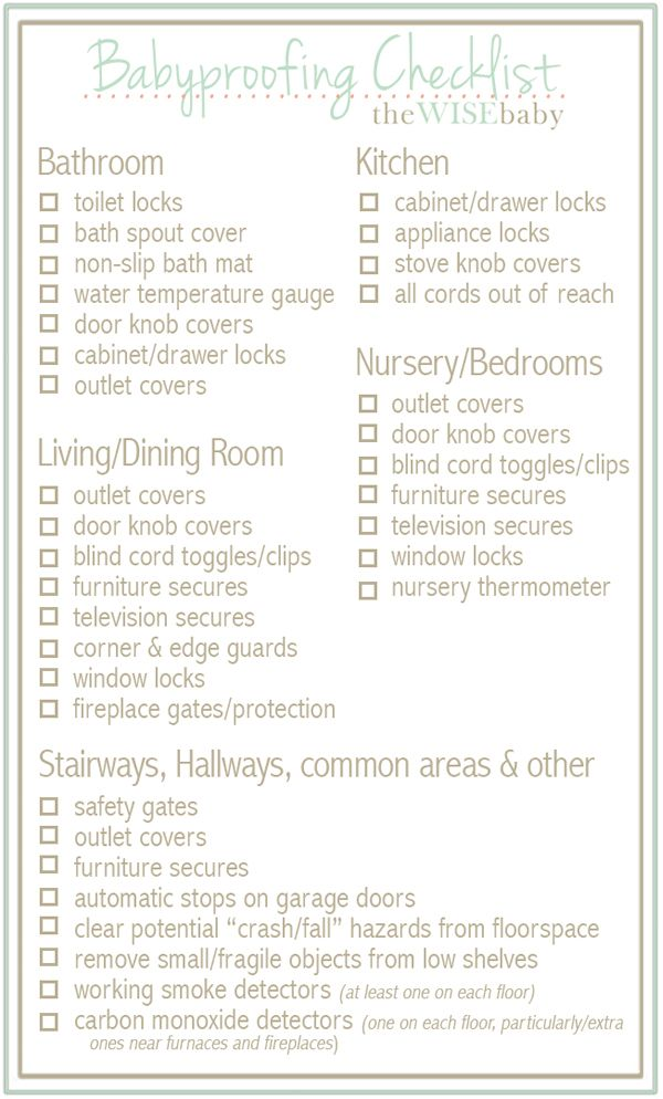 our handy room by room babyproofing checklist - Baby Room Checklist