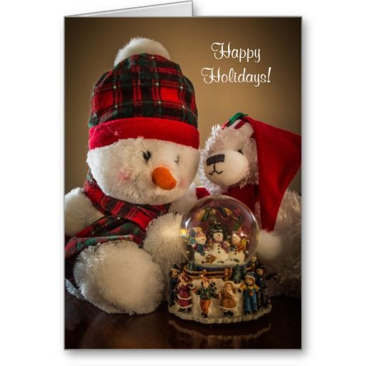 Snowman and Bear with Snowglobe