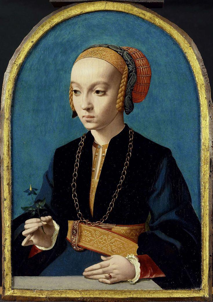 Probably German, shows many elements of Dutch clothing of this time.  Portret van Elisabeth Bellinghausen (1493-1555), Bartholomäus Bruyn (I), 1538